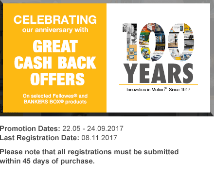 Fellowes 100 year cash back